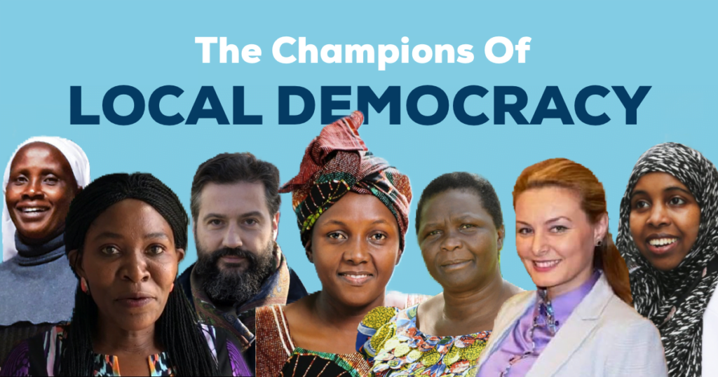 "seven people: one man and six women and the text "" The Champions of local democracy"""
