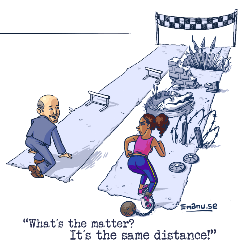A white man and a woman of color are poised to begin a foot race, but the woman's course is filled with obstacles absent the man's course.